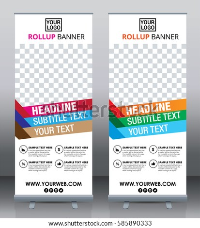 Roll up brochure flyer banner design template vector, abstract background, pull up design, modern x-banner, rectangle size.