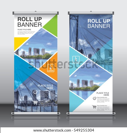 roll up brochure flyer banner design vertical template vector, abstract geometric background, modern x-banner and flag-banner,rectangle size.