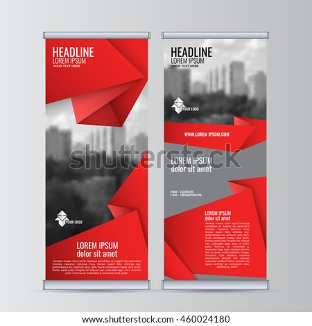 Roll up business banner design vertical template vector, cover presentation abstract geometric background, modern publication display and flag-banner. EPS 10.