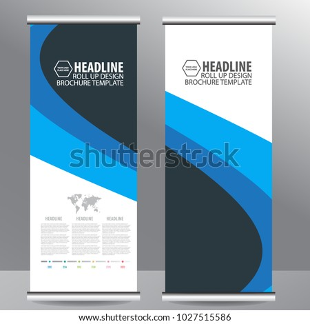 Roll up business brochure flyer banner design vertical template vector, cover presentation ,infographics,abstract geometric background, modern publication x-banner and flag-banner,carpet design. #1027515586