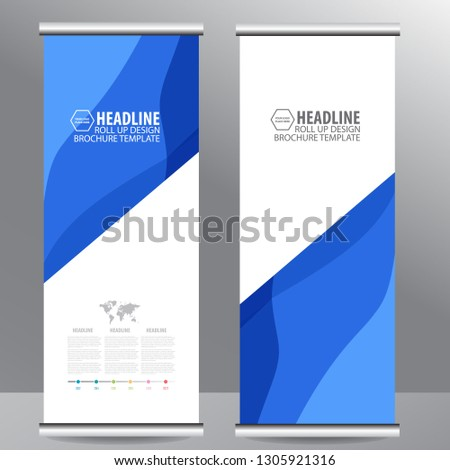 Roll up business brochure flyer banner design vertical template vector, cover presentation abstract geometric background, modern publication x-banner and flag-banner,carpet design - Vector #1305921316