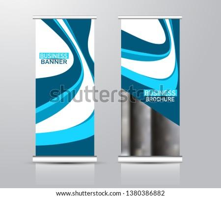 Roll up stand design. Vertical banner template for education, business, presentation, advertisement. Vector illustration. Blue color. #1380386882