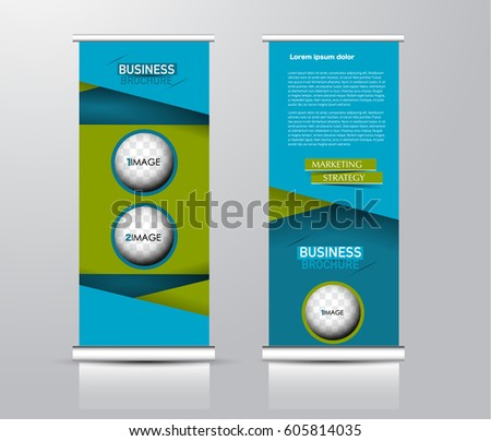 Roll up vertical banner template. Stand panel design. Business corporate concept brochure or flyer. Vector illustration. Green and blue color #605814035
