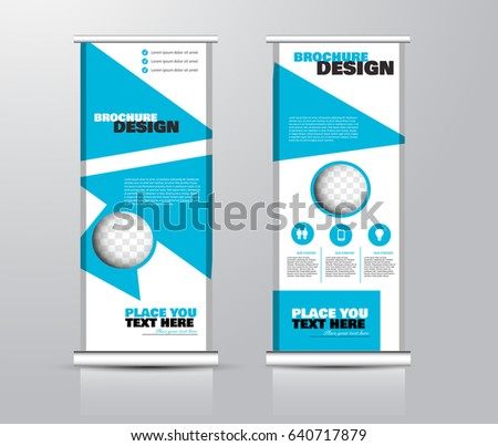 Roll up vertical banner template. Stand panel design. Business corporate concept brochure or flyer. Vector illustration. Blue color. #640717879