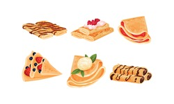 Rolled Crepes or Blinis with Jam and Chocolate Stuffing Vector Set