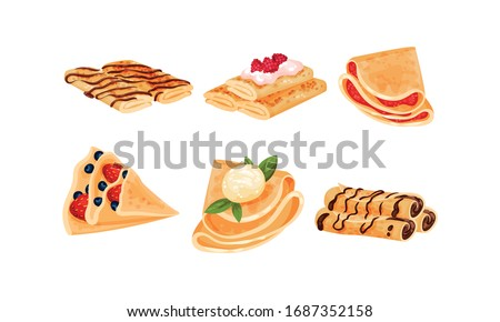 Rolled Crepes or Blinis with Jam and Chocolate Stuffing Vector Set Foto stock ©