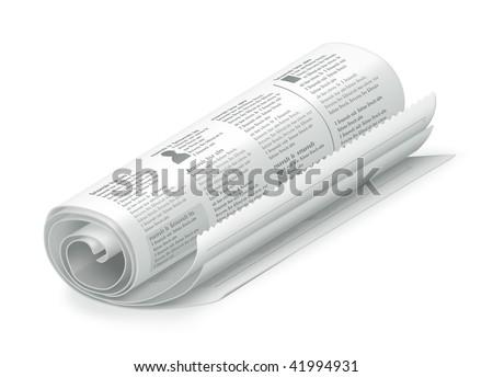 Rolled Newspaper, vector - stock vector