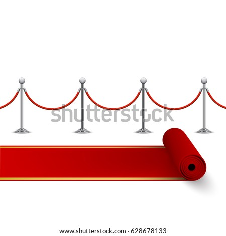 Rolled red carpet and fence with metal stanchions, vector, isolated on white