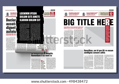 rolled ribbon of the newspaper, revealing a hidden story. modern newspaper layout template
