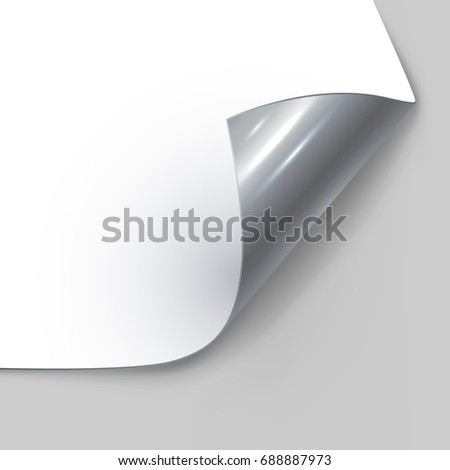 Rolled up silver page corner vector template.