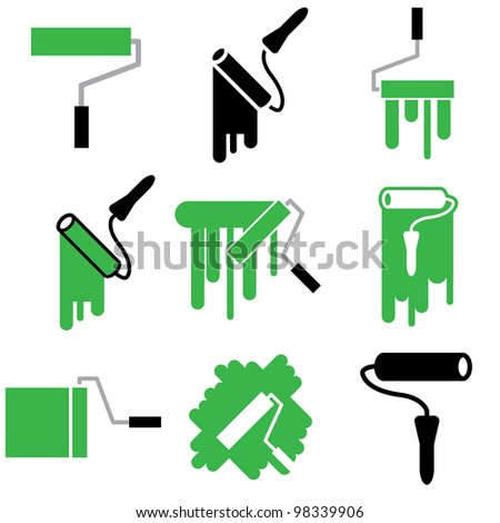 roller and paint icons vector set