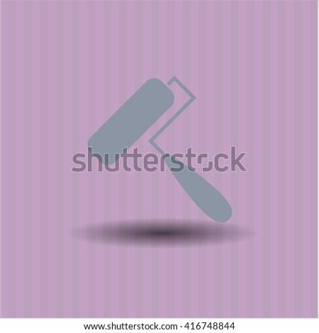roller brush icon vector symbol flat eps jpg app web