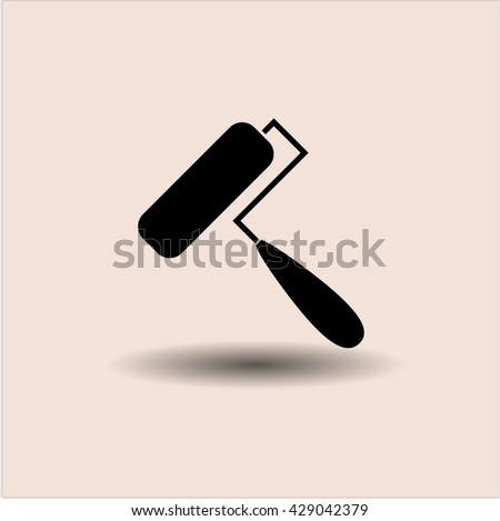 roller brush icon vector symbol flat eps jpg app web