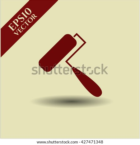Roller brush vector icon