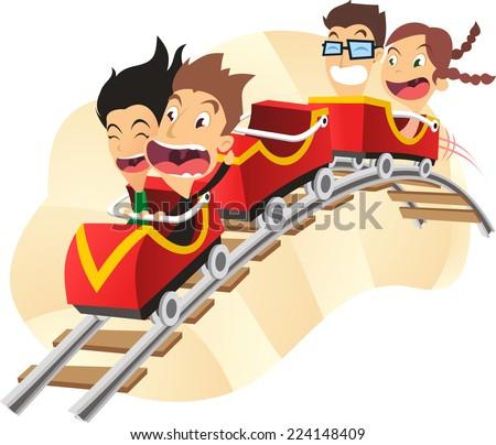 Roller coaster amusement park super fun ride cartoon vector illustration