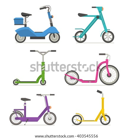 Roller scooter set. Balance bikes. Different scooters eco alternative city transport. Flat design biking and rolling wheels. Vector kick scooter collection. Push cycle set isolated on white.