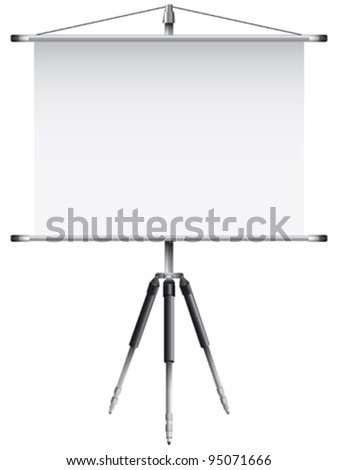 roller screen with tripod against white background, abstract vector art illustration; image contains transparency
