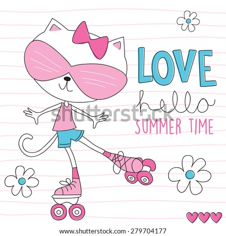 roller skate cat vector illustration