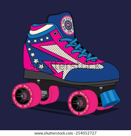 Roller skate New York typography, t-shirt graphics, vectors