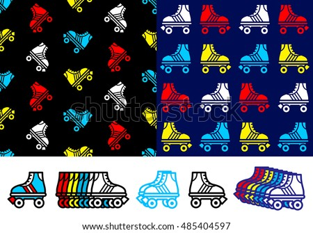 Roller skate seamless background pattern with colorful red, blue, yellow and white skate icons in two different pattern variations with a row of single icons on white below, vector illustration