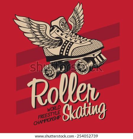Roller skate typography, t-shirt graphics, vectors, sport