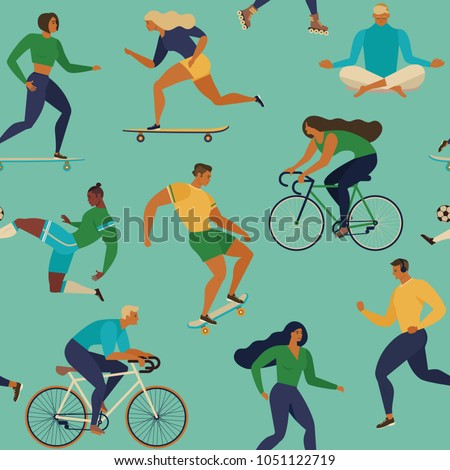 Roller skates, running, bicycle, walk, yoga. Vector seamless pattern with active young people. Healthy lifestyle. Design elements.