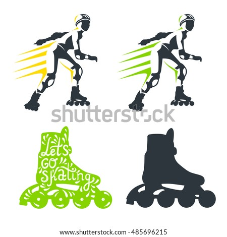 Roller skates woman with roller skates isolated on white background. Vector illustration of sport icon. Roller Skate label logo design. Inline skating boot.