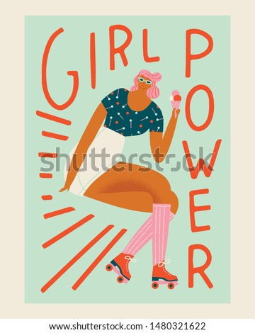 Roller skating girl in vector in retro 50s style. Funny cartoon illustration with skater women character poster with feminist text quote.