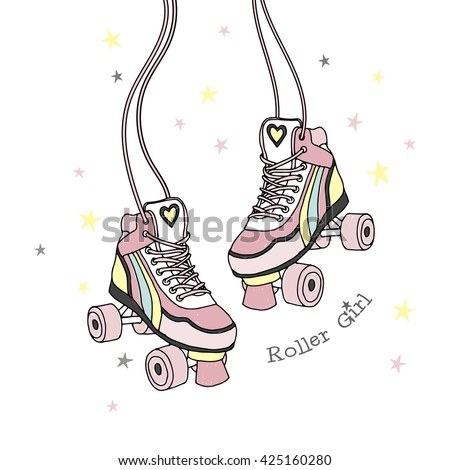 rollers print  roller girl