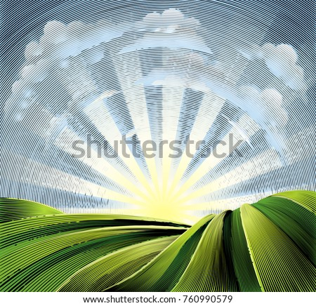 Rolling hills or farmland fields scene or and sun rise and clouds in a vintage retro old fashioned woodcut etching or engraving style