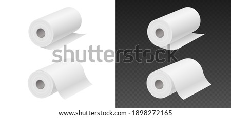 Rolling paper towels mockup isolated on white and black background. Household objects 3D realistic template. Set of editable toilet paper or napkins tubes isolated. Vector illustration Foto d'archivio ©