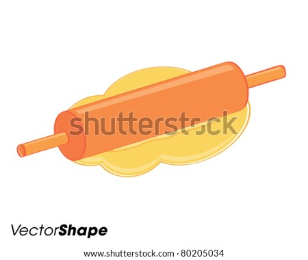 Rolling pin and dough, baking concept, vector illustration