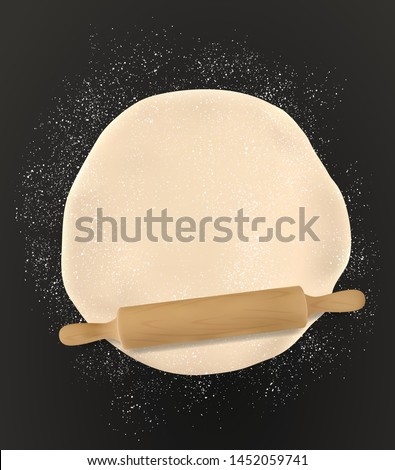 Rolling pin and homemade pastry dough, bakery flour on table, 3d realistic top view. Vector pizza dough kneading with rolling pin, patisserie, wheat and rye bread baking. Domestic bread pastry cooking