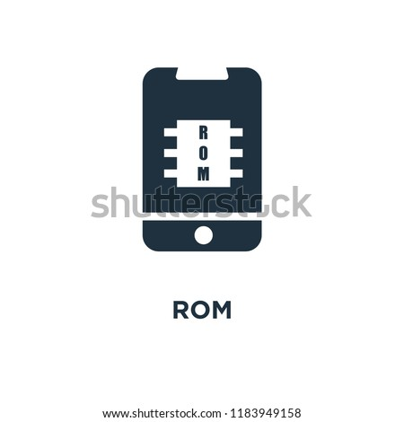 Rom icon. Black filled vector illustration. Rom symbol on white background. Can be used in web and mobile. Foto stock ©