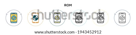 Rom icon in filled, thin line, outline and stroke style. Vector illustration of two colored and black rom vector icons designs can be used for mobile, ui, web Foto stock ©