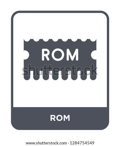 rom icon vector on white background, rom trendy filled icons from Mobile app collection, rom vector illustration Foto stock ©