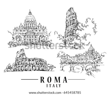 roma sketch. hand drawn...