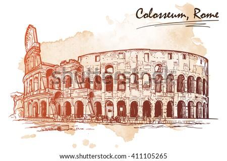 roman colosseum sketch