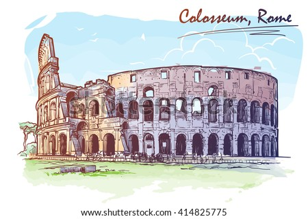 Roman Colosseum. Watercolor imitating painted sketch. Travel sketchbook architecture drawing. Vintage sketch. EPS10 vector illustration.