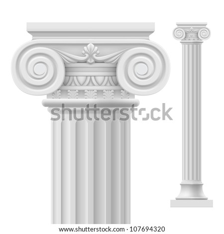 Roman column Illustration on white background for design