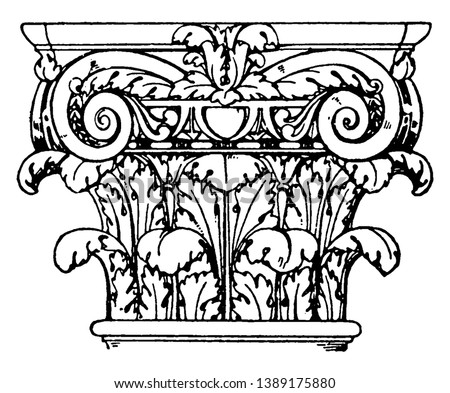 Roman Composite Capital, a fusion of the ionic, corinthian capitals, Category Ancient Rome Style Period, vintage line drawing or engraving illustration.