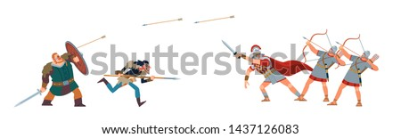 Roman conquest. Roman soldiers firing arrows of the barbarian tribes. Ancient historical battle. Vector illustration on white isolated background.