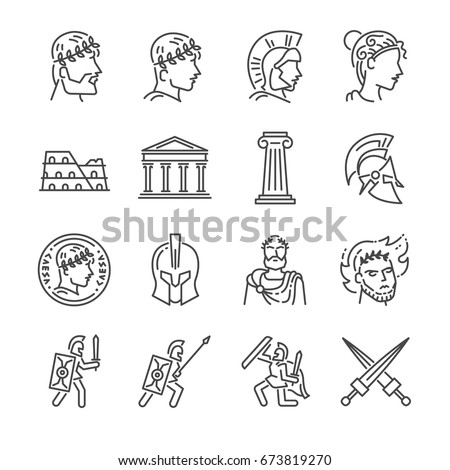 roman empire line icon set