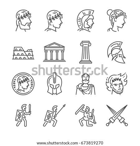 roman empire line icon set