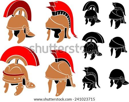 roman helmet set isolated