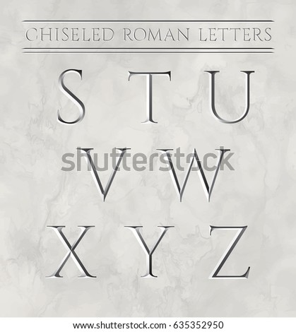 roman letters chiseled in