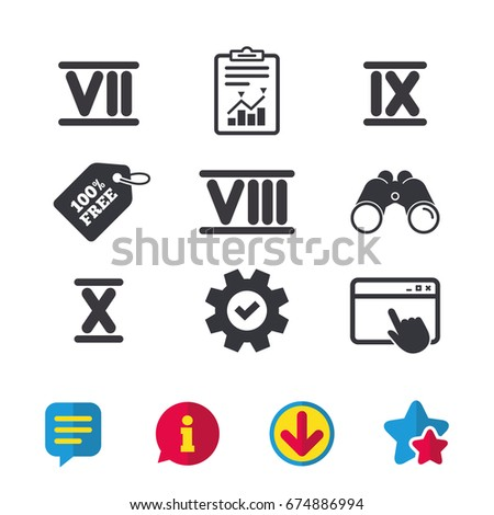 roman numeral icons 7  8  9