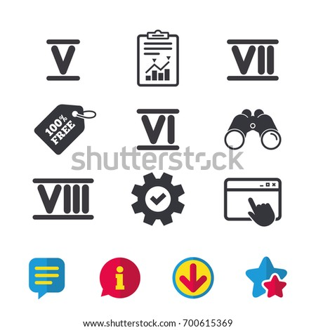roman numeral icons 5  6  7