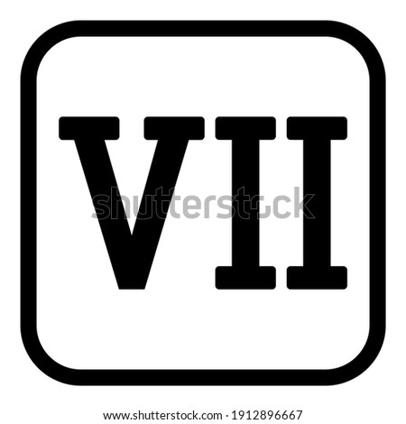 Roman numeral seven button on white background. Vector illustration. Stock photo ©