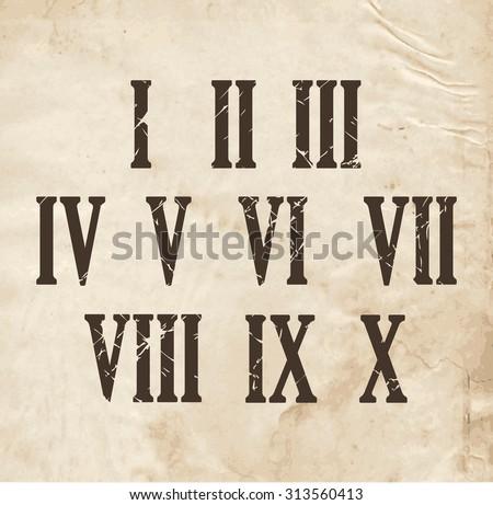 roman numerals on retro old